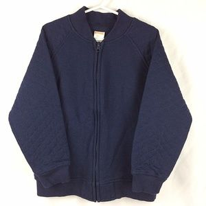 Gymboree Quilted Sweatshirt Jacket Navy Blue Zip